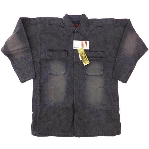 画像1: ●【アウトレット】手甲シャツ 34シリーズ 綿100%  薄墨 ブラスト加工 LLサイズのみ (1)
